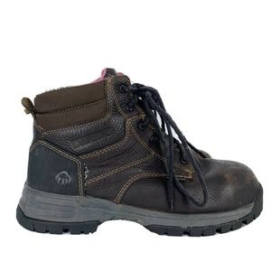 Wolverine Womens Size 8 Piper Waterproof Composite Toe Work Boots Brown Leather